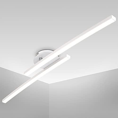 B.K.Licht Plafoniera LED, luce calda 3000K, LED integrati 1100Lm, 12W, 1 braccio ruotabile, lunga 57.5cm, Lampada da soffitto per entrata, lampadario bianco IP20