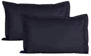 Trance Home Linen 100% Cotton Pillow Covers (20X30-inch Large, Black) - Pack of 2