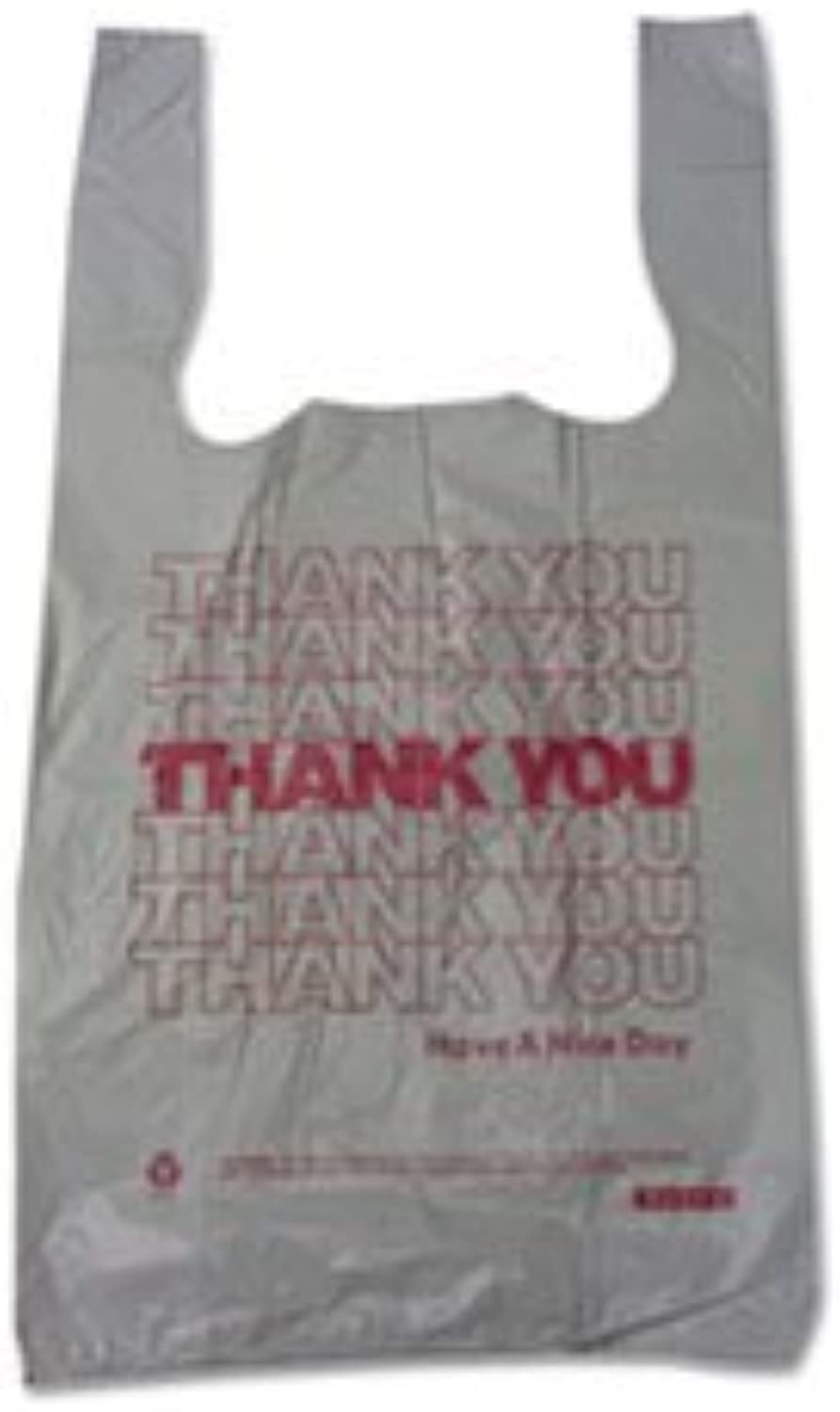 - Plastic Thank You T-Sacks, 6  x 4  x 15 , 2 Mil, White