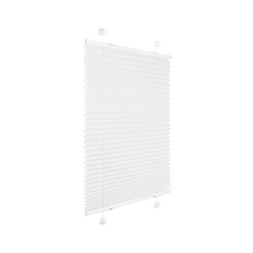 Victoria M. Easyfix Plissee Faltrollo ohne Bohren Plisseeanlage Klemmfix mit Klemmträger für Fenster und Türen, Größe: 80 x 100 cm, Farbe: Weiss