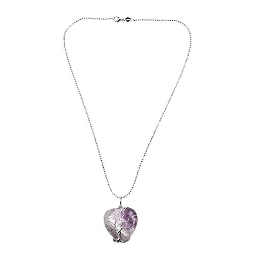 HEALLILY Collar de Árbol de La Vida Collar de Cristales de Curación de Energía en Forma de Corazón Collar de Piedra de Cristal de Curación Natural Colgante Collar Púrpura