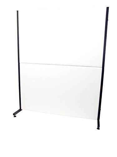 Valdega scheidingswand voor kantoor en werkplek, afneembaar, met zwart frame – bekleding van wit kunstleer in piquera's en Crespo model Valdega