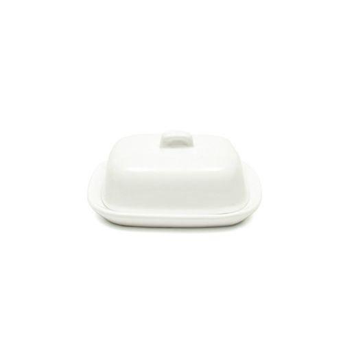 CKS Mini Butterdose mit Deckel Keramik Weiß (10x8x4cm) (Pack of 2)