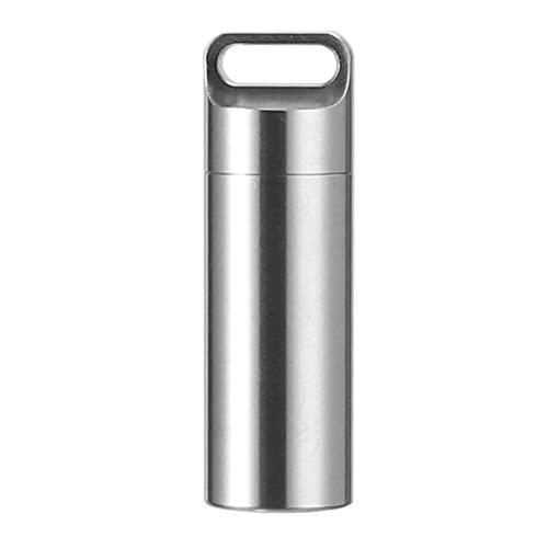 Pastillero de Almacenamiento, Mini Caja de Pastillas de Almacenamiento Impermeable sellada de Titanio Estuche de Perfume Colgantes Herramientas EDC Pastillero ecolico para el Exterior en el hogar