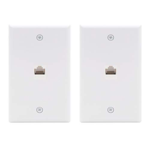 VCE 2-Pack 1 Port Ethernet Wall Plate, Cat6 Female to Female Wall Jack RJ45 Keystone Inline Coupler Wall Plates, UL Listed - White