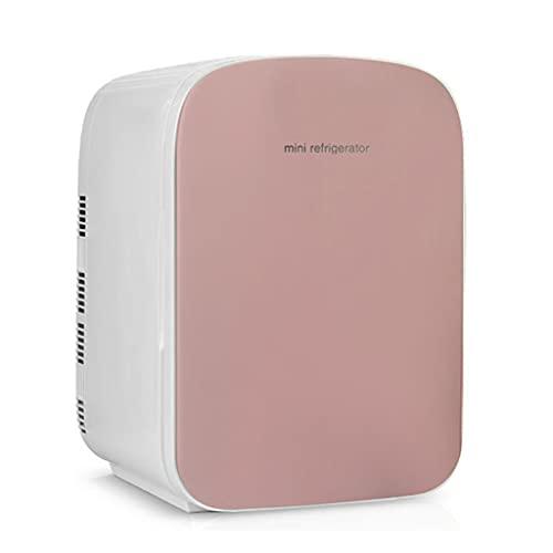 Mini Refrigerador, Mini Nevera Portátil para el Skincare 4L / 29 Latas de Refrescos, Mini Neveras 220V/12V para Enfriar y Calentar, Nevera Pequeña y Silenciosa para Skincare, Alimentos, Bebidas,Pink