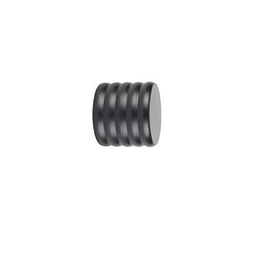 ECOSPAIN Terminal de tapón de Barra de Cortina de 22 mm de diámetro. Medidas: Ancho 2,8 cm, Largo 2,5 cm, Alto 2,8 cm. AF 410. Color Negro. Serie Antique Ferro Deco. Dos Unidades