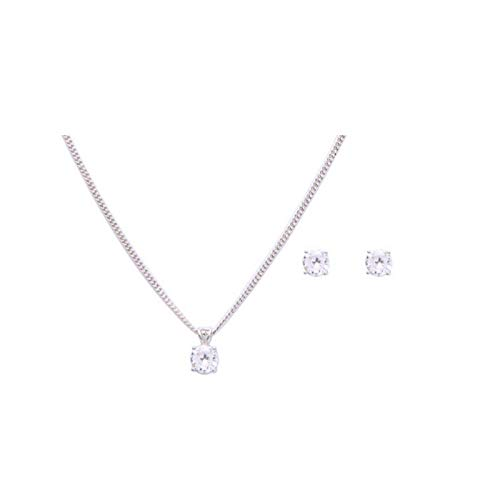House of Meèsse Women's 2 CT Classic Round Solitaire Pendant Necklace and Earrings Set, Rhodium Plated and 5A Cubic Zirconia, Comes with an Elegant Gift Box
