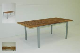 Giardino Tavolo in legno teak alluminio estensibile, misure senza prolunga, 150 x 96 cm, misura completamente estesa 195 x 96 cm
