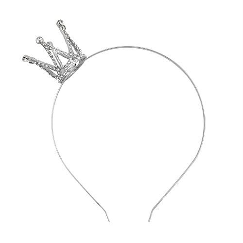NSLS Shiny Birthday Crown Tiara for Girls Princess Decoration Headband Crowns for kids (Silver)