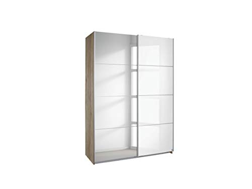 Rauch Möbel Subito Schrank Kleiderschrank Schwebetürenschrank in Eiche Sanremo hell / Glas Weiß mit Spiegel 2-türig inkl. Zubehörpaket Basic 2 Kleiderstangen, 2 Einlegeböden BxHxT 181x197x61 cm