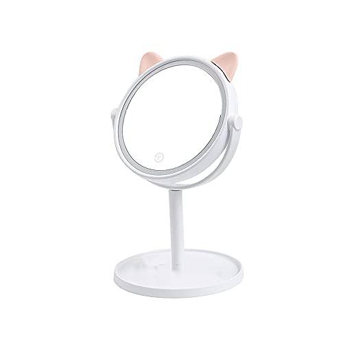 JIYANANDPHZJ Espejo Hacer Espejo con luz LED, Espejo de tocador de Mesa de rotación de 360 Grados, Espejo de tocador de Maquillaje portátil con Luces