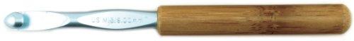 Susan Bates 5-1/2-Inch Bamboo Handle Silvalume Head Crochet Hook, 9mm, Blue