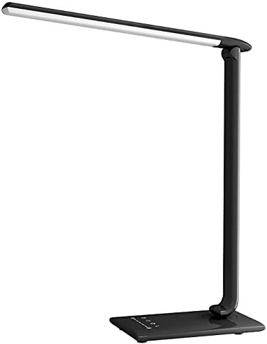 Lámpara de Mesa, 12 W Lámpara Escritorio LED 5 Modos y 7 Niveles para Lectura, Trabajo, Plegable con Control Táctil, USB, Luz Nocturna, Temporizador Automático, Control de Luminosidad Regulable