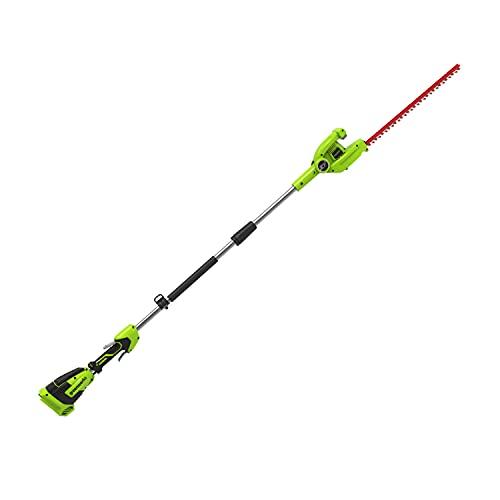 Greenworks Cortasetos inalámbrico de largo alcance G40PHA (Li-Ion 40V 51cm longitud espada 18 mm espaciado dientes de corte 3000 cortes/min varilla divisible 250 cm sin batería y cargador)