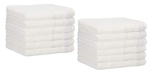 Betz Paquete de 12 Toallas de tocador Palermo tamaño 30x50cm 100% algodón Color Blanco