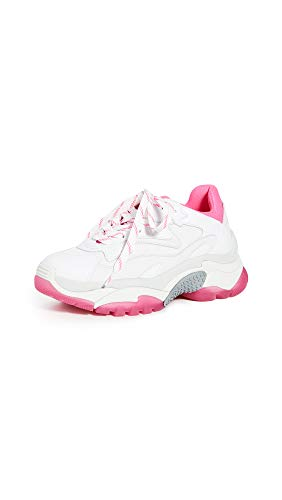 ASH Women's Addict Sneakers, White/White/White/Fluo Pink, 5 Medium US