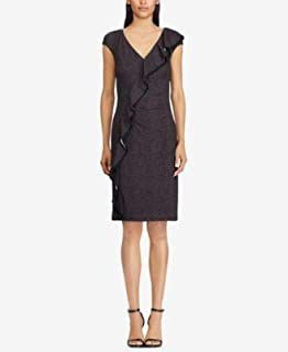 RALPH LAUREN Womens Black Jersey Ruffle Trim Cap Sleeve V Neck Above The Knee Wear To Work Dress US Size: 16
