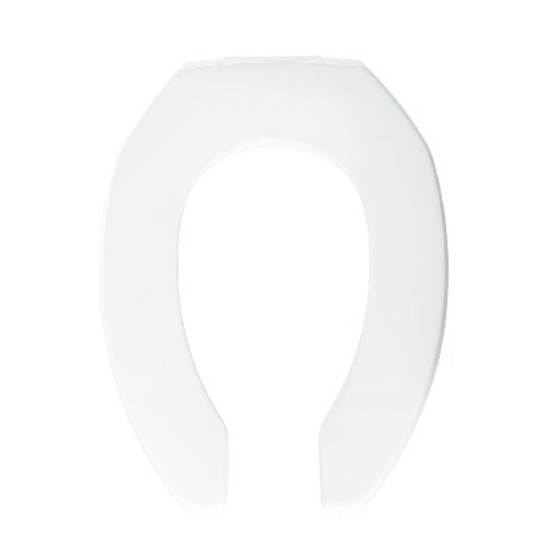 Bemis 2155SSC000 Plastic Open Front Less Cover Elongated Toilet Seat with Self Sustaining Check Hinge, White by Bemis