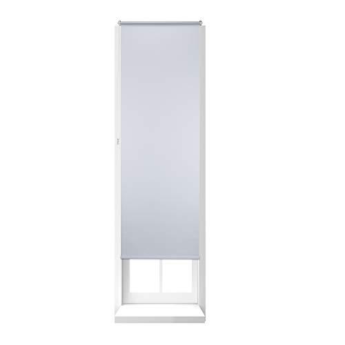 Relaxdays Estor Opaco Enrollable sin Taladrar, Tela-Aluminio, Ancho Tejido 66 cm, 70 x 210 cm, Blanco