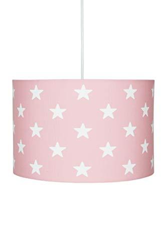 Deckenlampe für Kinderzimmer Hängeleuchte Lampenschirm mit Sternen in rosa Weiss, 30x20 cm, E27, 60 Watt, 230Volt