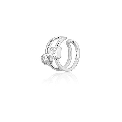Plata de Ley 925 Irregular Geométrico Grueso Rock Punk Clips Pendiente Earcuff Ear Beach Wedding Jewelry Clips-Silver