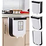 Delgeo Contenedor de Basura Plegable y Fijo para Cocina, Creativo y de Moda, 9L, basurero para automóvil/baño/Dormitorio (Blanco) …