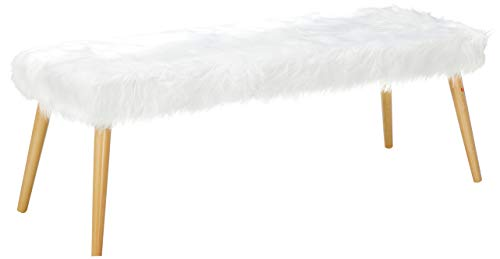 Christopher Knight Home Magnus Long Hair Furry Ottoman, White