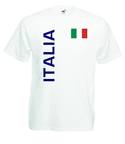 World-of-Shirt Italia/Italien Herren T-Shirt Trikot weiß M