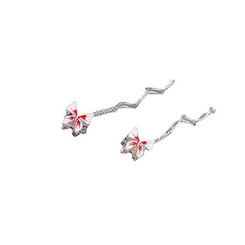 S925 Línea De Oreja De Mariposa Roja Y Blanca Mujer Simple Onda Corta Pendientes Anti-Perdida Joyería De Oreja De Verano