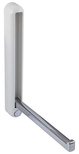 Gedotec Klapphaken Garderobe Wand-Paneel Kleiderhaken klappbar - H8001 | Metall weiß - Chrom poliert | MADE IN GERMANY | 1 Stück - Wandgarderobe Aufbau-Haken mit Befestigungsmaterial