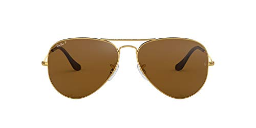 Ray-Ban Aviator RB 3025, Gafas de Sol Unisex, Marrón (polarisiert braun 001/57), 62 mm