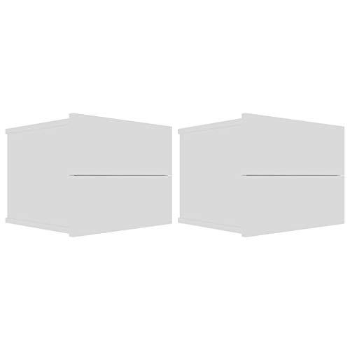 Tidyard Comodino Pensile Camera da Letto Moderno Truciolato,Comodino Sospeso,Comodino Bianco,Mensola Comodino,Comodino Sospeso Camera da Letto,Comodini Moderno,Mensola da Parete 40x30x30 cm