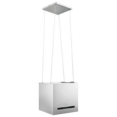 vidaXL Campana Extractora Colgante Táctil LCD Cocina Techo Recirculación Interna Filtro de Carbón Evacuación Pantalla Acero Inoxidable