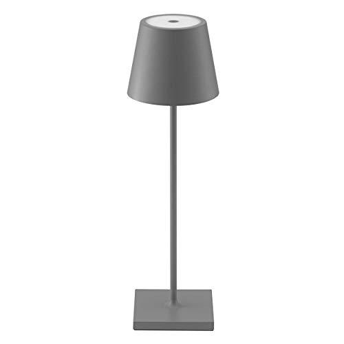 SIGOR Nuindie - Dimmbare LED Akku-Tischlampe Indoor & Outdoor, aufladbar mit Easy-Connect, 24h Leuchtdauer, Anthrazit