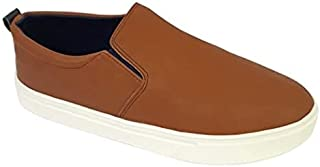 Skippy Contrast Sole Round Toe Pull-on Shoes for Boys - Brown, 28 EU