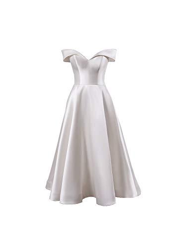 La_Marie Braut Weiss Elegant Midi Brautkleider Hochzeitskleider Standesamt Brautmode Brautkleider Kurz Silberhochzeit kleider-32-Weiss