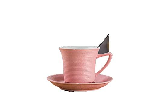 Taza de café creativa taza retro de cerámica oficina en casa con taza de pareja con platos-Pink_101-200ml