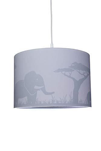 Waldi Chambre Lampe Suspension avec imprimé éléphant, Gris, E14
