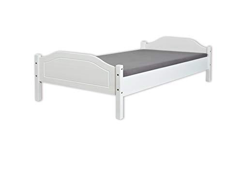 Inter Link Jugendbett Doppelbett Gästebett modernes Bett 140x200 Echt Holz Naturholz Weiß lackiert, 207 x 147 x 73 cm, Weiß