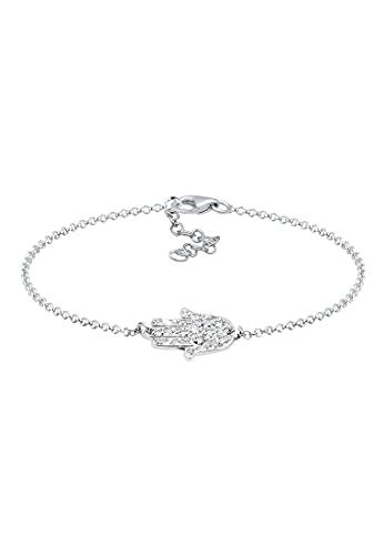 Elli Pulseras Karma de mano de las damas Hamsa con cristales en plata esterlina 925 bañada en oro
