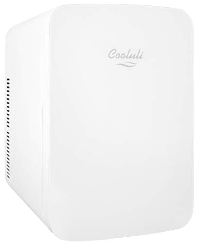 Cooluli 15L Mini Fridge for Bedroom - Car, Office Desk & College Dorm Room - 12v Portable Cooler & Warmer for Food, Drinks, Skincare, Beauty & Makeup - AC/DC Small Refrigerator with Glass Front, White