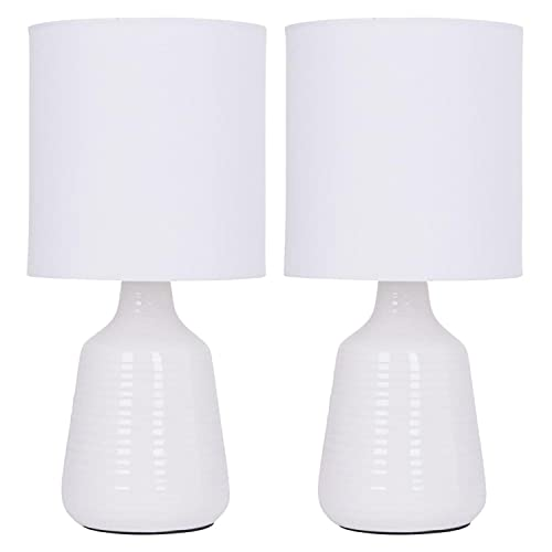 Set of 2 Ripple - White Ceramic29cmTable Lamp/Bedside Lights with Matching Shades