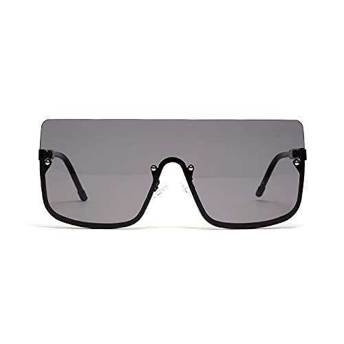FENGHUAN Gafas demediamontura para hombre y gafas de sol de hip hop para mujer y gafas de sol cuadradas grandes Negro