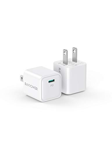 USB C Charger RAVPower 2Pack 20W USB C Power Delivery Wall Charging Adapter PD30 Fast Charger Compact for iPhone 12/Mini/12 Pro/Max/11 iPad Pro Galaxy PixelSwitch AirPods Pro