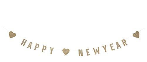 Madam Stoltz Happy New Year guirlande in goud, 1 m