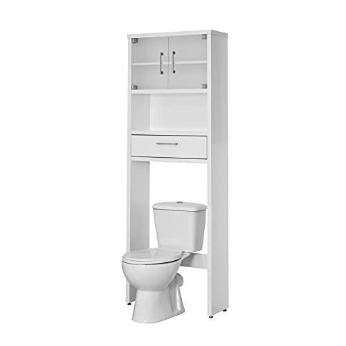Topkit WC Toilette Hochschrank Überbauschrank Badregal Badezimmerregal Badschrank Badmöbel (weiß) 8950BL