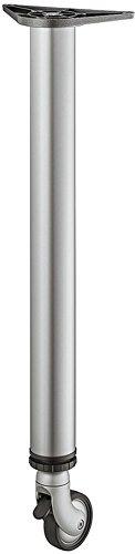 Meubelvoet met wieltjes zilver RAL 9006 tafelpoot in hoogte verstelbaar + 25 mm tafelvoet rond metaal - model H1877 | hoogte: 710 mm | draagkracht tot 35 kg | GedoTec® powered by HÄFELE