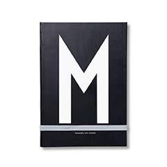 Design Letters Persönliche Notizbuch (Schwarz) - M - Gebundene Ausgabe, holzfreies Papier, einschließlich Farbband-Lesezeichen, erhältlich von A-Z, L: 21 x B: 14,8 cm, 146 Seiten