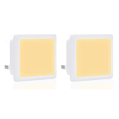 Fulighture Plug in Night Light 0.3W muurlampen, Dusk to Dawn Light Sensor Night Lamp Lighting Automatisch On/Off voor Wall Outlet Security Lights, Babyroom, slaapkamer, Stair, hallway, warm wit, 2 stuks
